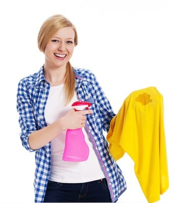 Spritz, spray and softly apply pressure when removing clothing stains.